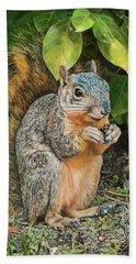 Squirrel Under Bush Beach Sheet