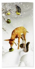 Squirrels And Deer Christmas Time Beach Towel