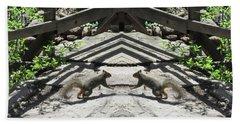 Squirrels Dancing On A Bridge Beach Towel