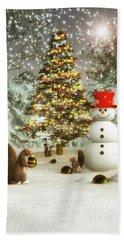 Squirrels Decorating Christmas Beach Sheet