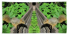 Squirrels On Fence In Surreal World Beach Towel