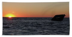 Beach Sheet featuring the photograph S.s. Atlantus At Sunset by Greg Graham