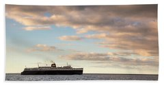 Beach Towel featuring the photograph Ss Badger Leaving Port by Adam Romanowicz