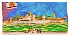 S.s Geestland And House Flag Geest Line Beach Sheet by Lanjee Chee
