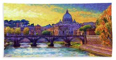 St Angelo Bridge Ponte St Angelo Rome Beach Towel
