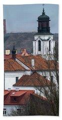 St Bartholomew And Vilnius Castle Beach Towel