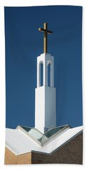 Beach Towel featuring the photograph St Benedicts Church Rooftop by Gary Slawsky