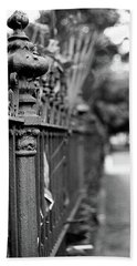 Beach Towel featuring the photograph St. Charles Ave Wrought Iron Fence by KG Thienemann