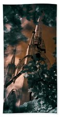 Beach Towel featuring the photograph St Dunstan In The East Tower by Helga Novelli