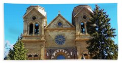 Beach Sheet featuring the photograph St. Francis Cathedral Santa Fe Nm by Joseph Frank Baraba