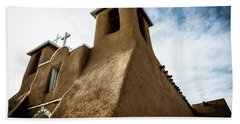 Beach Towel featuring the photograph St. Francis Church Taos by Marilyn Hunt