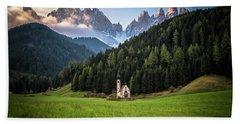 St. Johann Church In Val Di Funes Beach Sheet