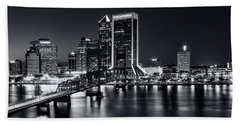 St Johns River Skyline By Night, Jacksonville, Florida In Black And White Beach Towel