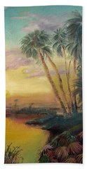 Beach Towel featuring the painting St. Johns Sunset by Dawn Harrell