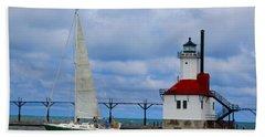 St. Joseph Lighthouse Sailboat Beach Towel