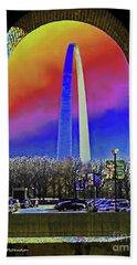 St Louis Arch Rainbow Aura  Beach Towel