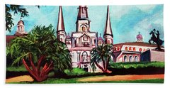 Beach Towel featuring the painting St. Louis Catheral New Orleans Art by Ecinja Art Works