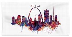Beach Towel featuring the digital art St Louis Skyline by Marian Voicu