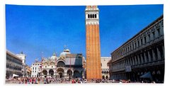 Beach Sheet featuring the photograph St Mark's Square by Anne Kotan