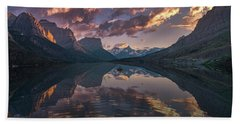 St Mary Lake At Dusk Panorama Beach Towel