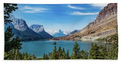 Beach Towel featuring the photograph St. Mary Lake, Glacier N.p. by Lon Dittrick