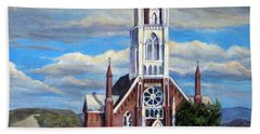 Beach Towel featuring the painting St. Mary Of The Mountains by Donna Tucker