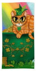 St. Paddy's Day Cat - Orange Tabby Beach Towel
