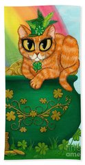 Beach Towel featuring the painting St. Paddy's Day Cat - Orange Tabby by Carrie Hawks
