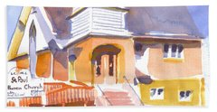 Beach Sheet featuring the painting St. Paul Lutheran Ironton Missouri by Kip DeVore