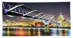 St Paul's Cathedral During Night From The Millennium Bridge Over River Thames, London, United Kingdom. Beach Towel