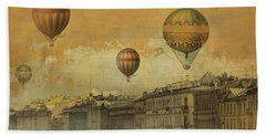Beach Sheet featuring the digital art St Petersburg With Air Baloons by Jeff Burgess