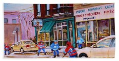Beach Sheet featuring the painting St. Viateur Bagel With Boys Playing Hockey by Carole Spandau