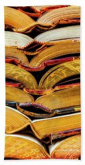 Stacked Book Spines Beach Towel