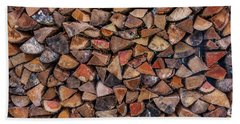 Stacked Firewood Beach Towel by Jim Moore