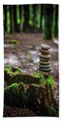Beach Towel featuring the photograph Stacked Stones And Fairy Tales by Marco Oliveira