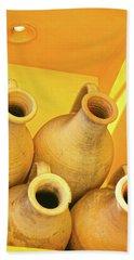 Stacked Yellow Jars Beach Towel
