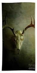 Beach Towel featuring the photograph Stag Skull by Stephanie Frey