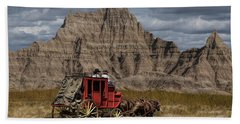 Stage Coach In The Badlands Beach Towel