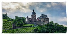 Beach Towel featuring the photograph Stahleck Castle by David Morefield