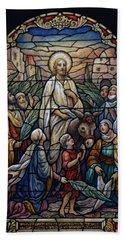 Stained Glass - Palm Sunday Beach Towel by Munir Alawi