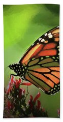 Stained Glass Butterfly Beach Towel
