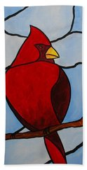 Stained Glass Cardinal Beach Towel