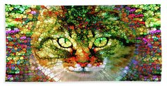 Stained Glass Cat Beach Towel