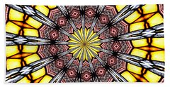 Beach Towel featuring the photograph Stained Glass Kaleidoscope 23 by Rose Santuci-Sofranko