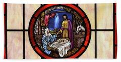 Stained Glass Nativity Window Beach Towel