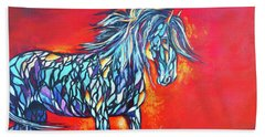 Beach Towel featuring the painting Stained Glass Stallion by Karen Kennedy Chatham
