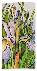Stained Iris Beach Towel