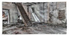 Beach Towel featuring the photograph Stair In Old Abandoned  Building by Michal Boubin