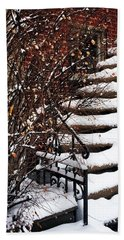 Staircase Covered By Snow Beach Towel