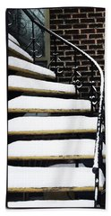 Staircases Covered By Snow Beach Towel